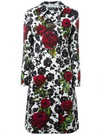 Dolce  amp  Gabbana Rose Print Brocade Coat - at Farfetch