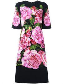 Dolce  amp  Gabbana Rose Print Cady Dress at Farfetch