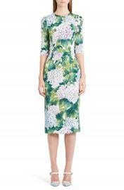 Dolce Gabbana Hydrangea Print Stretch Silk Dress at Nordstrom