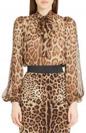 Dolce Gabbana Leopard Print Silk Tie Neck Blouse at Nordstrom