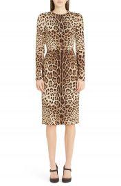 Dolce Gabbana Leopard Print Stretch Silk Sheath Dress at Nordstrom
