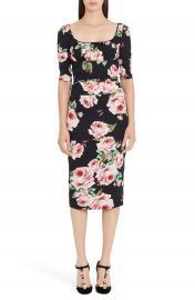 Dolce Gabbana Rose Print Stretch Silk Dress at Nordstrom