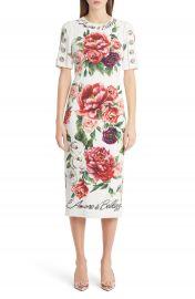 Dolce amp Gabbana Jewel Button Peony Print Cady Dress at Nordstrom