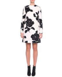 Dolce and Gabbana Floral-Print Topper Coat BlackWhite at Neiman Marcus