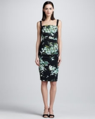 Dolce and Gabbana Lily-Print Ruched Tank Dress at Neiman Marcus