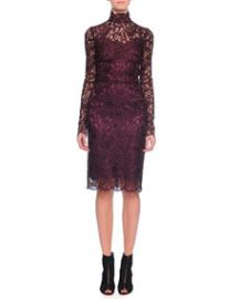 Dolce and Gabbana Long-Sleeve Floral-Lace Scalloped Sheath Dress Aubergine at Neiman Marcus