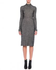 Dolce and Gabbana Long-Sleeve Mock-Neck Sheath Dress at Neiman Marcus