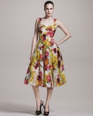 Dolce and Gabbana Onion-Print Bustier Dress at Neiman Marcus