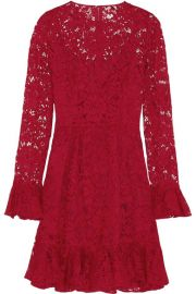 Dolce and GabbanaandnbspandnbspRuffled cotton-blend lace mini dress at Net A Porter