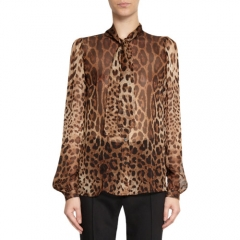 Dolce andamp Gabbana Tie Neck Leopard Blouse at Barneys