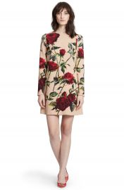 DolceandGabbana Rose Print Long Sleeve Cady Dress at Nordstrom
