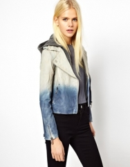 Doma  Doma Arena Two Tone Leather Jacket in blue at Asos