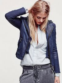 Doma  Sweater Hood Leather Biker Jacket at Free People
