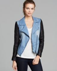 Doma Jacket - Denim and Leather at Bloomingdales
