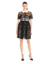 Donna Morgan Short-Sleeve Lace Shirt Dress at Amazon