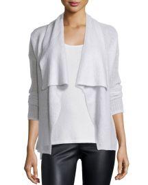 Donna Karan Cashmere-Silk Drape Front Cardigan  Pearl at Neiman Marcus