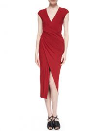 Donna Karan Cool Wool Jersey Draped Surplice Dress at Neiman Marcus