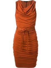 Donna Karan Draped Sleeveless Dress - Il Bacio Di Stile at Farfetch