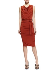 Donna Karan Sleeveless Self-Belted Ruched Jersey Dress at Neiman Marcus