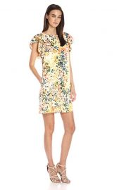 Donna Morgan Flutter Sleeve Poly Twill Shift Dress at Amazon