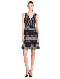Donna Morgan Womenand39s Sleeveless V-Neck Striped Fit-and-Flare Dress at Amazon