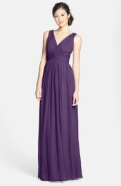 Donna Morgan and39Julieand39 Twist-Waist Silk Chiffon Gown in amethyst at Nordstrom