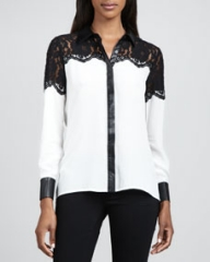 Dora Landa Lace and Faux-Leather-Trim Shirt at Neiman Marcus