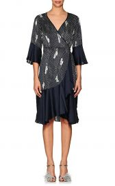 Dot Floral Crepe Wrap Dress by Timo at Barneys