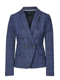 Double Breasted-Fit Plaid Blazer at Banana Republic