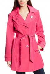 Double Collar Trench Coat in Pink at Amazon