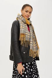 Double Faced Checked Scarf at Topshop