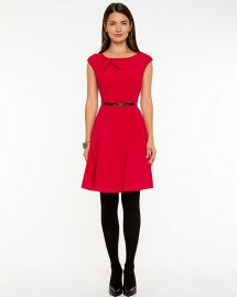 Double Weave Fit and Flare Dress in purpleRed at Le Chateau