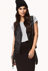 Double Zipper Moto Vest at Forever 21