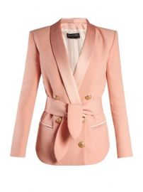 Double-breasted belted crepe blazer at Matches