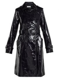 Double-breasted patent-leather trench coat at Matches