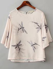 Dragonfly print blouse at Romwe