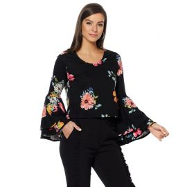 Drama Bell Sleeve Ponte Top by Wendy Williams HSN Collection at HSN