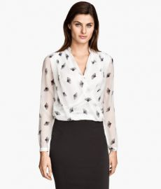 Draped Blouse in White Patterned at H&M