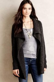 Draped Boucle Cardigan in Grey at Anthropologie