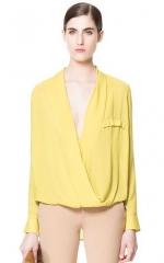 Draped yellow blouse at Zara