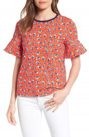 Draper James Georgia Floral Ruffle Sleeve Tee at Nordstrom
