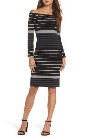 Dress: Off the Shoulder Stripe Sheath Dress by Eliza J Petite at Nordstrom Rack
