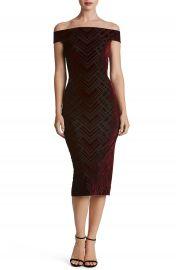 Dress the Population Eden Geo Print Velvet Off the Shoulder Dress at Nordstrom