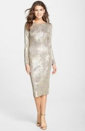 Dress the Population and39Emeryand39 Metallic Jersey Open Back Body-Con Dress at Nordstrom