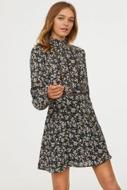 Dress with ruffled collar at H&M