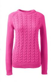 Drifter Cable Knit Sweater in Vibrant Magenta at Lands End