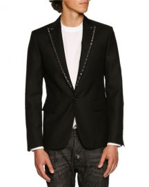 Dsquared2 Studded-Lapel Single-Button Blazer  Black   Neiman Marcus at Neiman Marcus