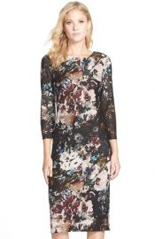 ECI Floral Print Burnout Knit Midi Dress at Nordstrom