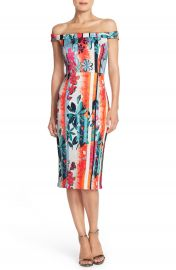ECI Floral Print Off the Shoulder Scuba Midi Sheath Dress at Nordstrom