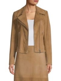 ELIE TAHARI - ANGALIE SUEDE BIKER JACKET at Saks Fifth Avenue